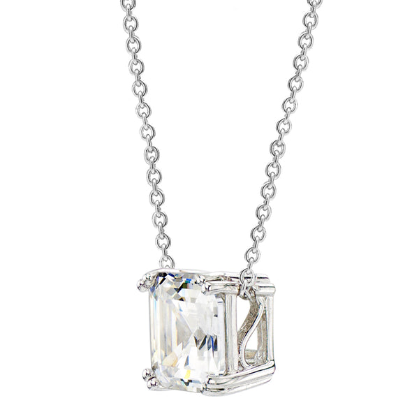 Sterling Silver 2 Carat Regal Solitaire Asscher Cut Necklace