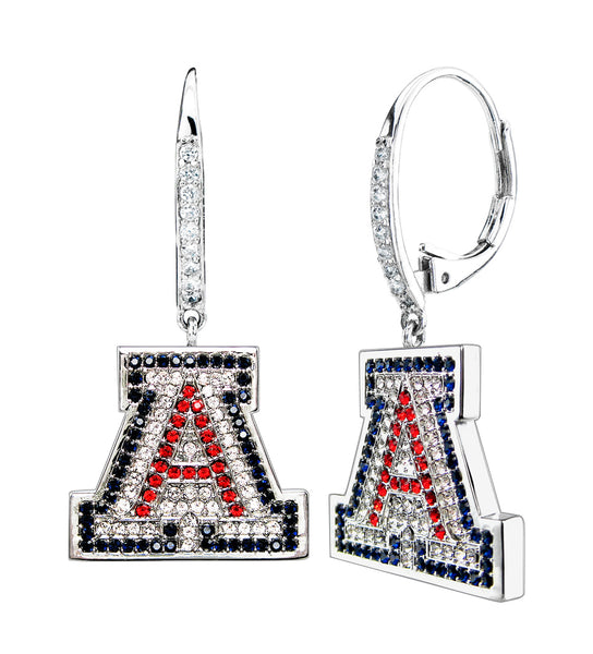 "Silver Couture Dangle University of Arizona ""A"" Earrings with Leverback"