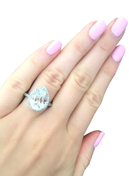 Sterling Silver 4 Carat Clear Pear Shaped Ring