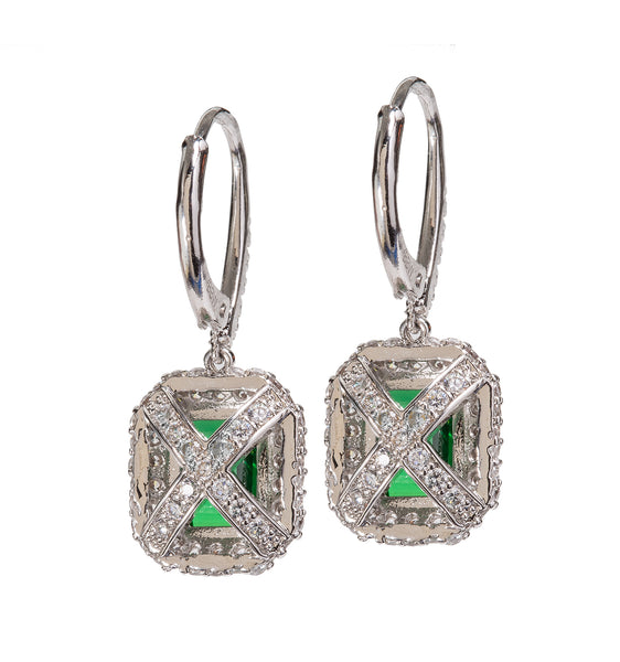 Silver Emerald Cut Emerald-Hued Drops with Double Halo and Lever back