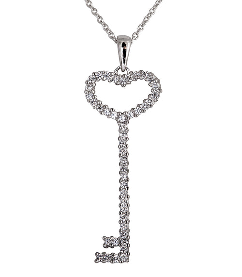 Sterling Silver Thin Pavé Heart Key Necklace