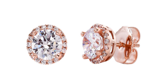 18 KGP Rose Gold 2.5 Carat Clear Round Studs with Halo