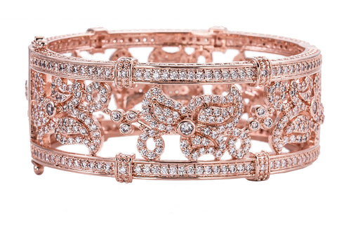 18 KGP Rose Gold Floral Micro Pavé Cuff with Double Security Clasp