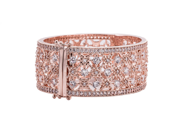 18 KGP Rose Gold Florence Cuff with Double Security Bar Clasp