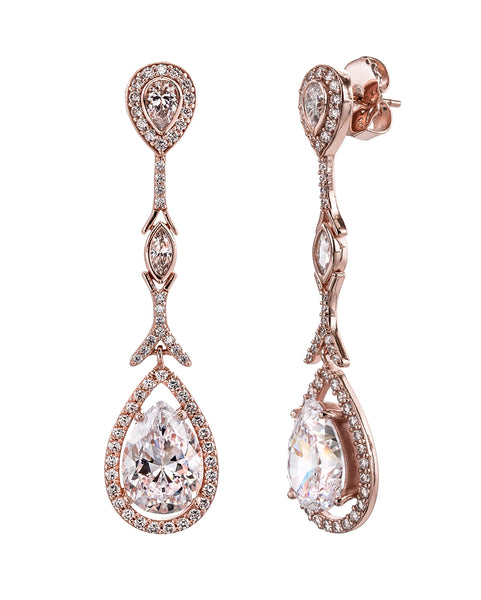 18 KGP Rose Gold Couture Teardrops with Pear Shaped Post