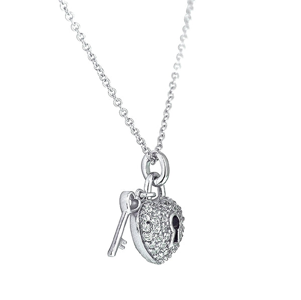 Sterling Silver Tiny Locket and Key Necklace