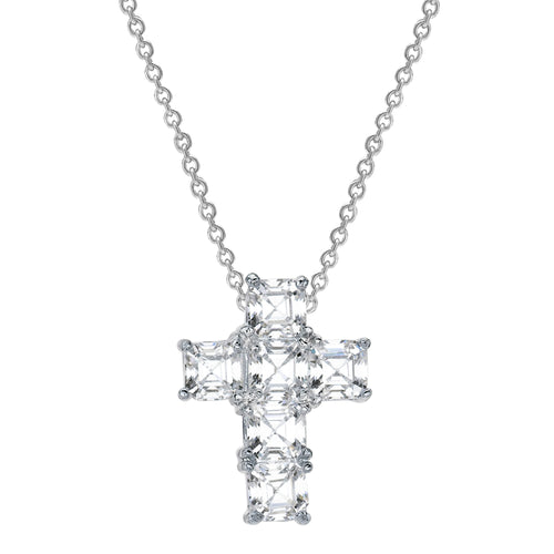 Sterling Silver Asscher Cut Canterbury Cross