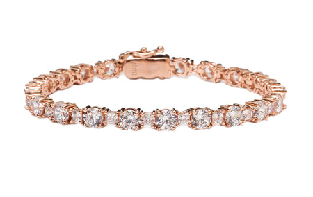 18 KGP Rose Gold 4mm Classic Tennis Bracelet with Double Security Clasp