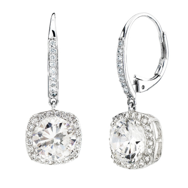 Silver 3 Carat Clear Cushion Cut Drops with Lever back