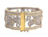 Silver and 18 KGP Floral Micro Pavé Cuff with Double Security Bar Clasp