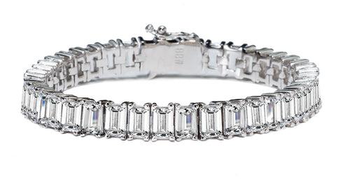 Silver Estate Emerald Cut Bracelet with Double Security Clasp