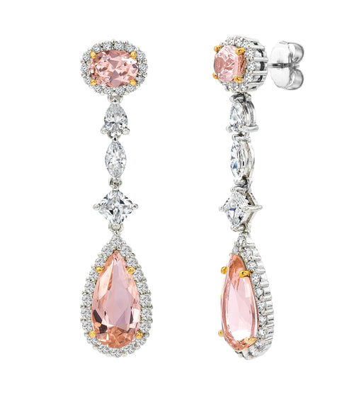 Silver Morganite-Hued Regal Teardrops with 18 KGP Prongs