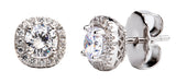 Sterling Silver 1.5 Carat Cushion Cut Studs with Ornate Side Detailing