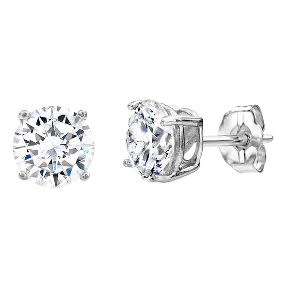 Sterling Silver 1 Carat 4 prong Solitaire Studs