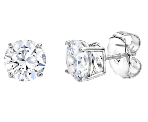 Sterling Silver 2.5 Carat 4 Prong Large Solitaire Studs