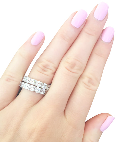 Sterling Silver 4mm Round Eternity Band