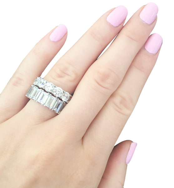 rose emerald cut band bands gold diamond eternity in