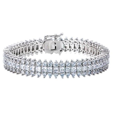 18 KGP Asscher Cut Tennis Bracelet with Double Security Clasp