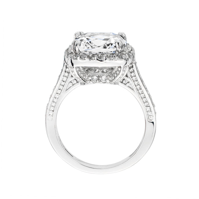 Sterling Silver 3.5 Carat Square Cushion Cut Ring