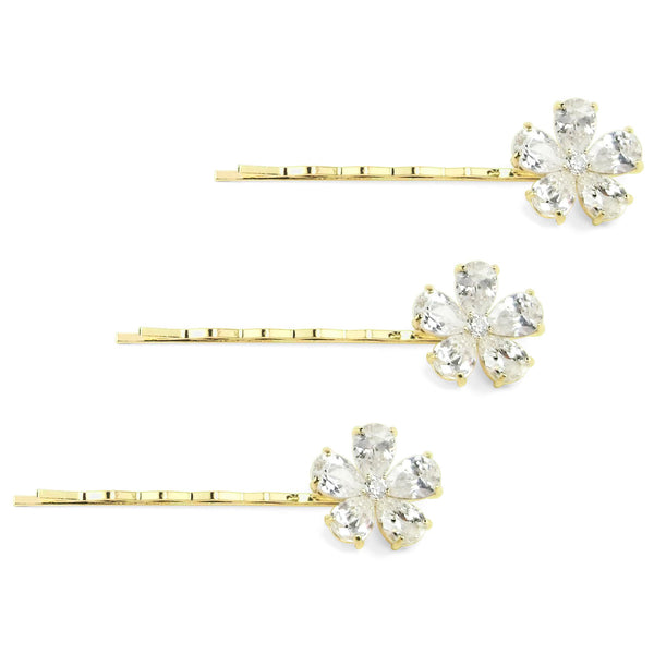18 KGP Set of 3 Flat Hair Pins