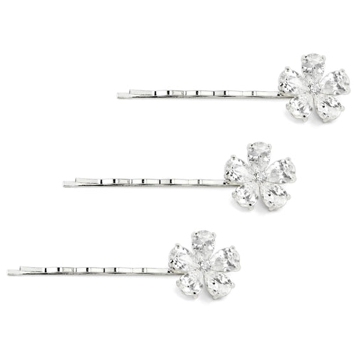Silver Set of 3 Flat Pear Shaped Hair Pins