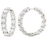 Sterling Silver Large Stone Couture Hoops