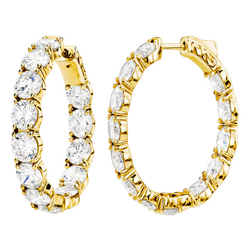18 KGP Large Stone Oval Couture Hoops