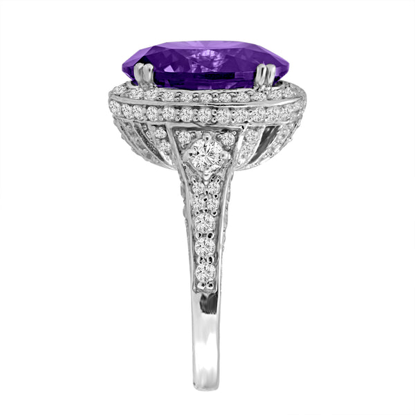 Sterling Silver 7 Carat Lavender Regal Crown Ring
