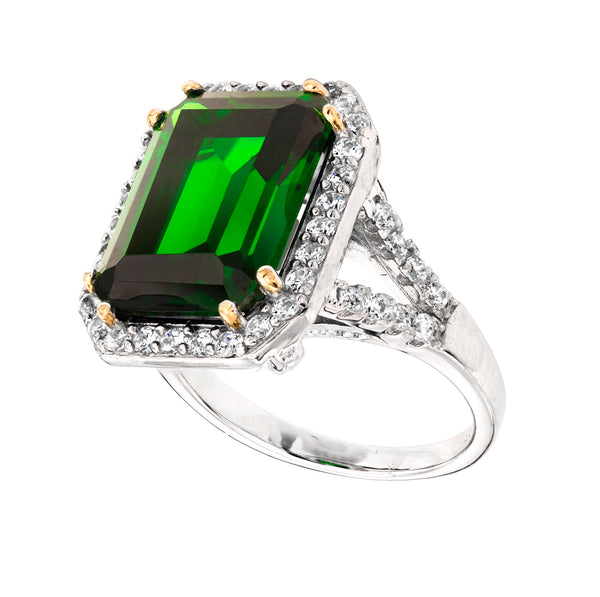 Sterling Silver 8 Carat Emerald-Hued Emerald Cut Ring with 18 KGP Prongs-SZ. 5