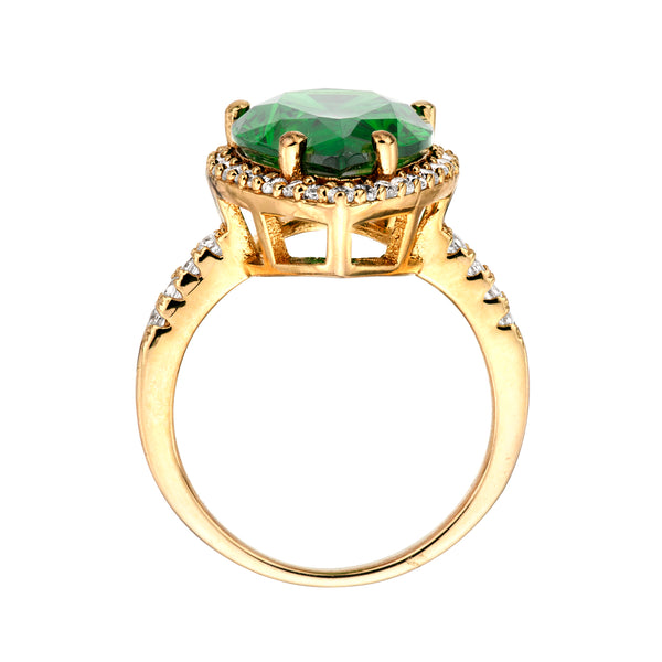 18 KGP 4 Carat Emerald Hued Pear Shaped Ring