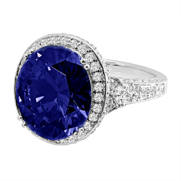 Sterling Silver 7 Carat Sapphire-Hued Crown Ring