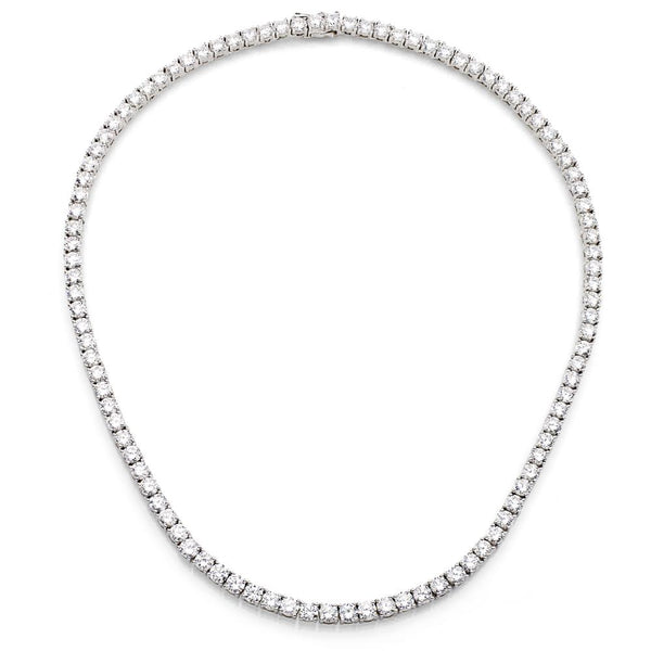 "Silver Classic Tennis Necklace with Double Security Clasp 16.5"" for A Pin (Pin Sold Separately)"