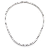 Silver Classic Tennis Necklace with Double Security Clasp 18