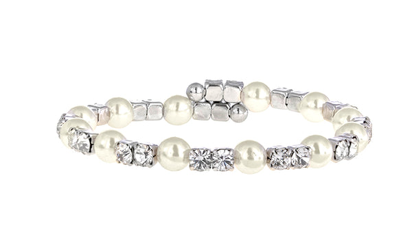 Silver Small Modern Ivory Pearl and Crystal Individual Coil Bracelets, Set of 6
