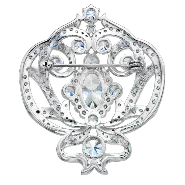 Silver Ornate Regal Brooch with Clear Center Stone