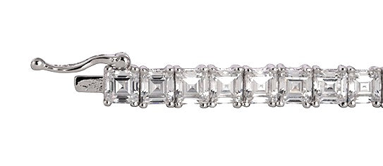 Silver Asscher Cut Tennis Bracelet with Double Security Clasp