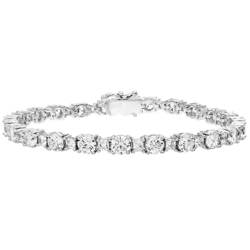 Silver Brilliant/Princess Cut Tennis Bracelet with Double Security Clasp