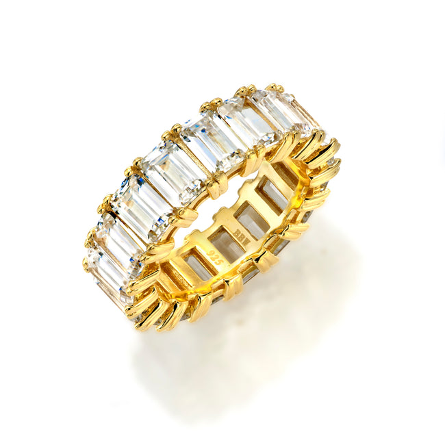 18 KGP 4 Prong Emerald Cut Eternity Ring Band