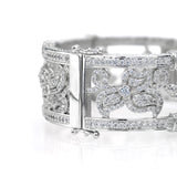 Silver Floral Ornate Micro Pavé Cuff with Double Security Bar Clasp