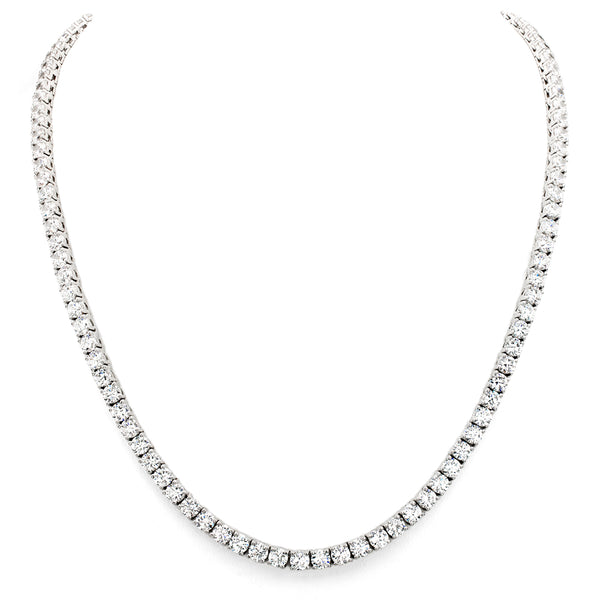 Silver Classic Tennis Necklace with Double Security Clasp 16.5""