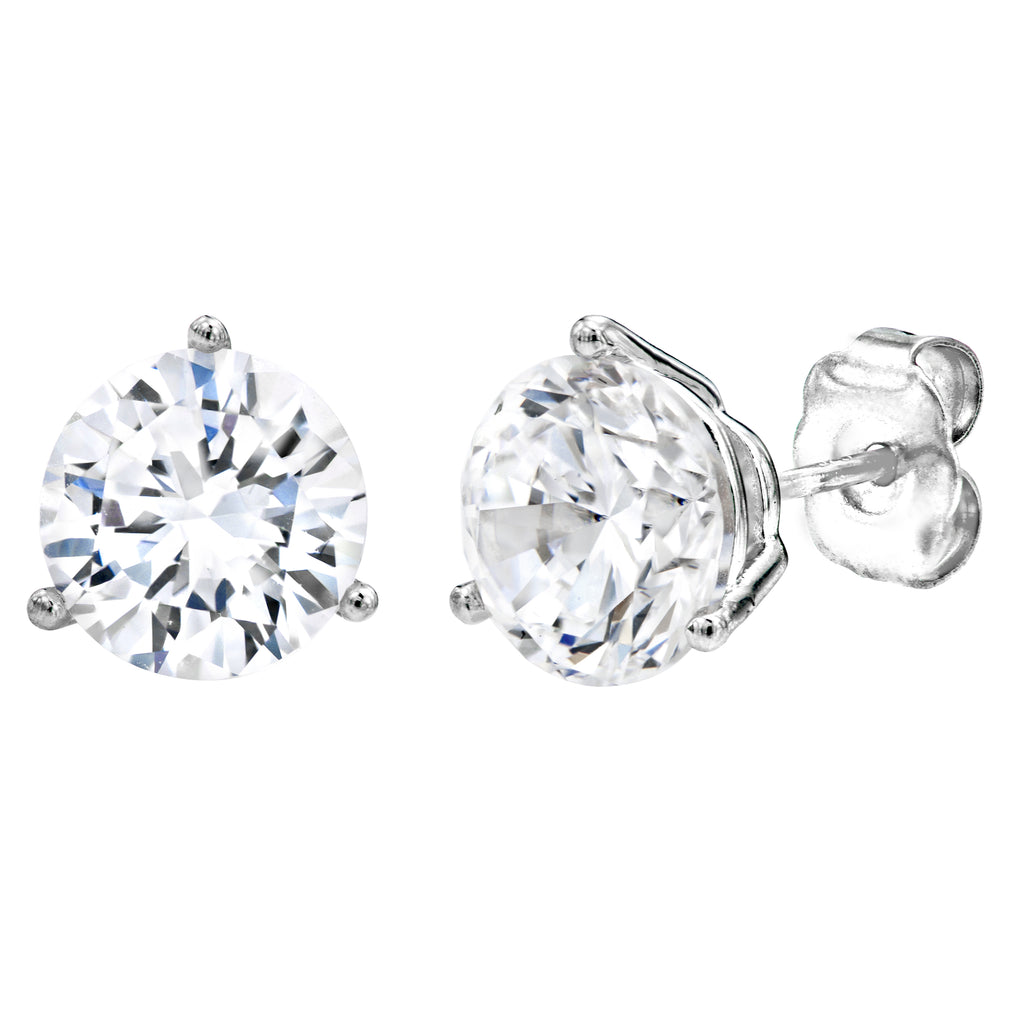 cut princess gold in h earrings diamond classic stud ctw i white prong