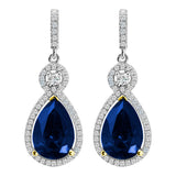 Silver Victorian Sapphire-Hued Teardrops with 18 KGP Prongs