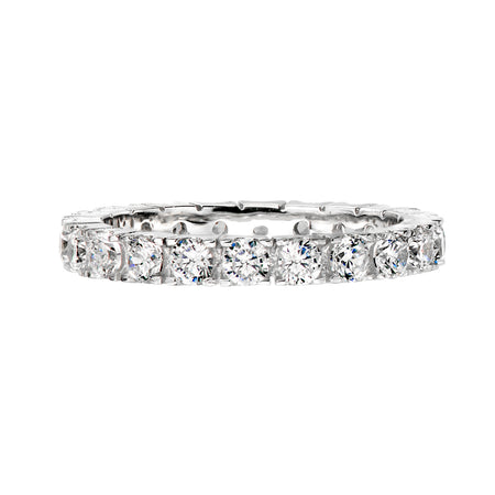 Sterling Silver 4 Carat Round Solitaire Ring on Eternity Band