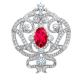 Silver Ornate Regal Brooch with Ruby Red Center Stone and 18 KGP Prongs
