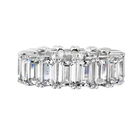 Sterling Silver 8 Carat Sapphire Hued Emerald Cut Ring with 18 KGP Prongs