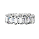 Sterling Silver 4 Prong Emerald Cut Eternity Ring Band