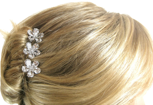 Silver Set of 3 Stick Pear Shaped Hair Pins