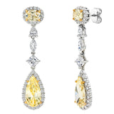 Silver Fancy Light Yellow Regal Teardrops with 18 KGP Prongs