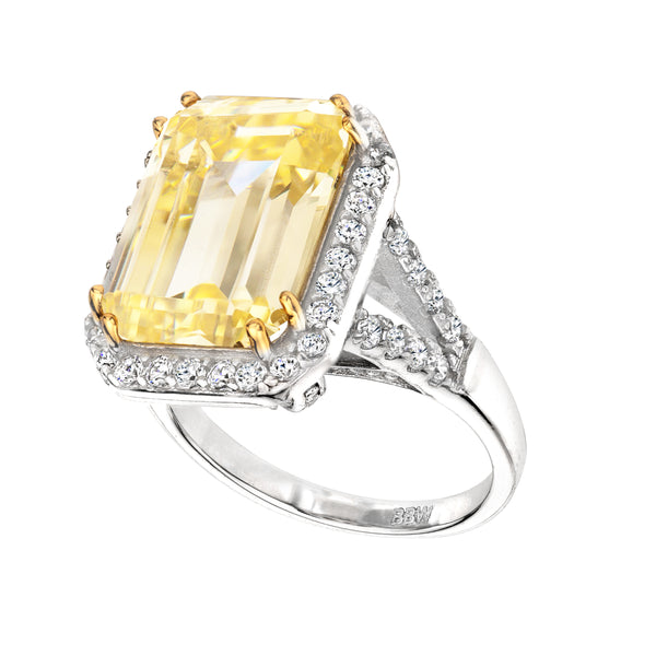 Sterling Silver 8 Carat Fancy Light Yellow Emerald Cut Ring with 18 KGP Prongs