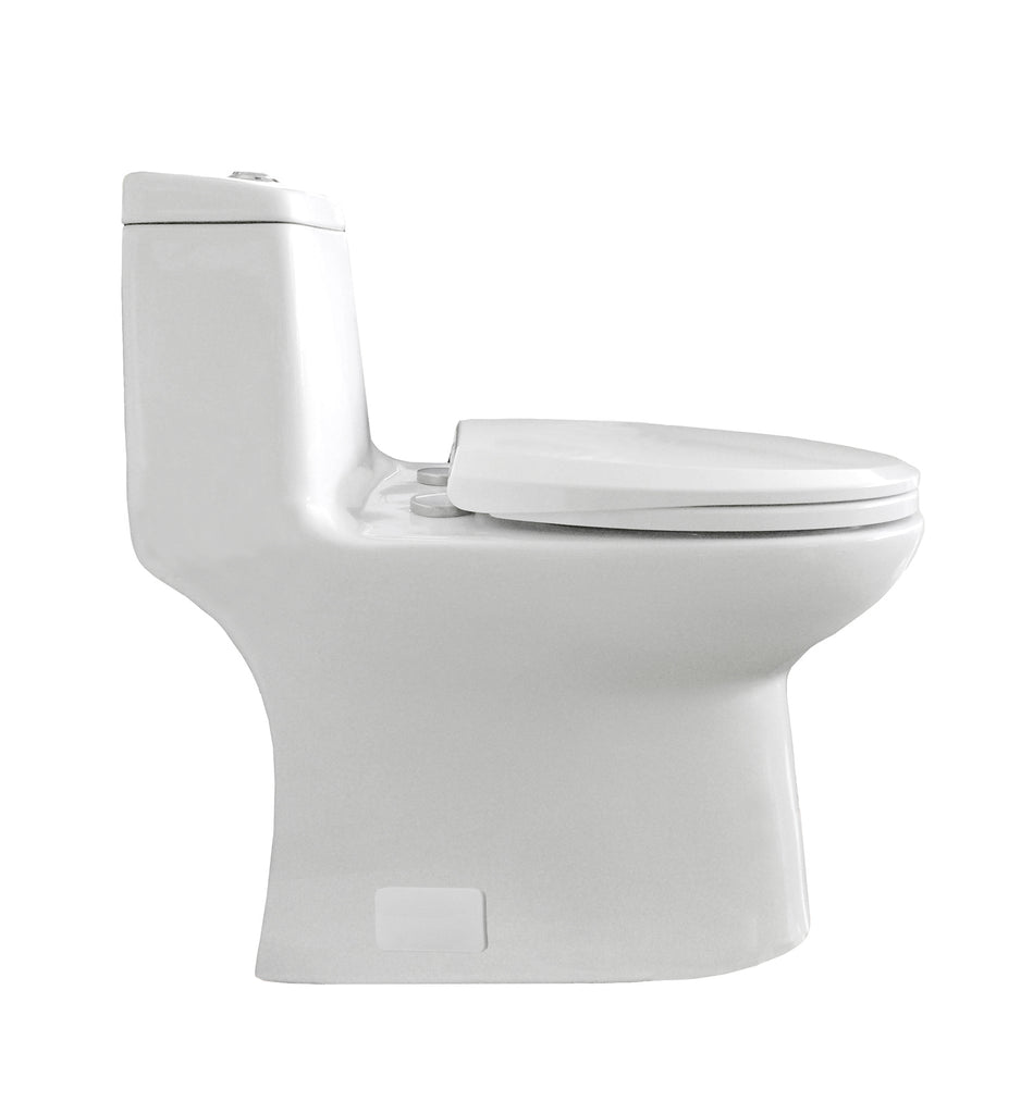 Eviva Hurricane Elongated Cotton White One Piece Toilet with Soft ...